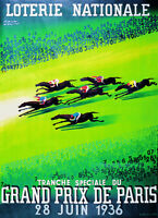 Vintage HORSE RACE GRAND PRIX De PARIS, 1936 Loterie Nationale Paul Colin Poster