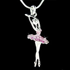w Swarovski Crystal Purple BALLERINA Ballet Dancer Teacher Pendant Necklace Xmas