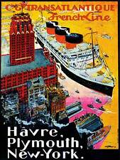 Travel FRENCH LINE Schiff Boot New York Le Havre FRANCE VINTAGE POSTER PRINT 971PY