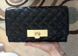 NWT MICHAEL KORS Black Quilted Leather Clutch Crossbody Shoulder Bag AUTHENTIC