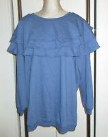 Roaman's 1X 22 24 Knit Top Heavy Blue Wide Ruffles on Neck Shoulders Tunic Lgth
