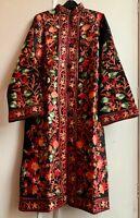 Stunning Boho Kashmiri Indian Raw Silk Wool Crewel Embroidered Jacket Coat 18