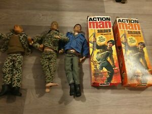 3 x Original Vintage Action Man Collection 1964 - Palitoy Soldiers 2 boxes