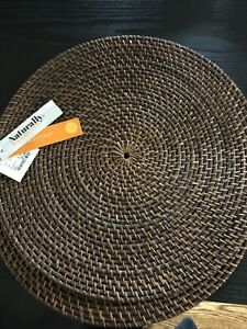 Woven Dark Natural Rattan Wicker Straw Charger Placemats Round Pair Of 2