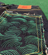 NWOT Red Monkey RMC Jeans Lot 1002 Size 32X35 Button Fly Green Wave Pockets VTG