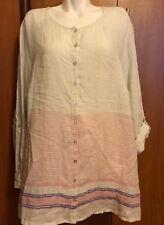 C C California Women Linen Blouse Top Tunic Plus Size 3X XXXL 3XL White  NWT