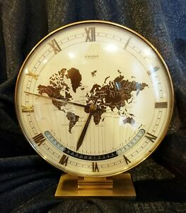 KIENZLE WELTZEITUHR AUTOMATIC WORLD TIME ZONE MODERNIST BRASS TABLE CLOCK 1960'S