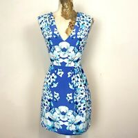Oasis Dress 10 100% Silk Blue Tones Floral Cut Out Back Evening Occasion Wedding