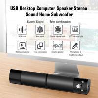 USB Powered Speakers Sound bar Subwoofer For Computer Laptop Desktop PC TV U6E3