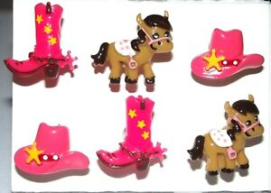 COWGIRL Western Push Pins Thumb Tack - Handmade Decorative Office 6pc Set
