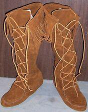 Minnetonka Knee Hi Hardsole Boots - Front Lace - Brown - Womens 9