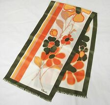 Paoli Silk Scarf 52x13 Olive Green Orange and Brown Vintage