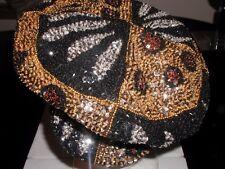 BRANDO NEWSBOY CAP HAT LEOPARD ANIMAL ZEBRA PRINT GOLD BRONZE BLACK SEQUINS NEW!