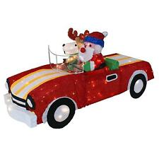 "SANTA AND REINDEER IN RED CONVERTIBLE TINSEL 48"" L X 26"" H CHRISTMAS OUTDOOR"