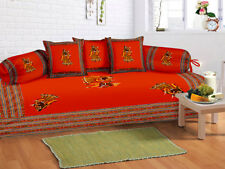 Indian Embroidered Red Diwan Set Diwan Cover Cushion Covers Bolster Covers Set