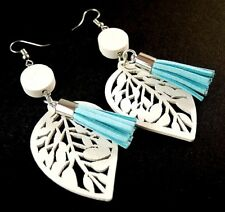 White Lightweight Wood Fashion Earrings with Faux Suede Light Blue Tassels #1690