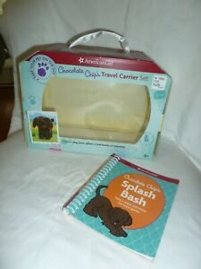 AMERICAN GIRL CHOCOLATE CHIP'S TRAVEL CARRIER BOX AND BOOK