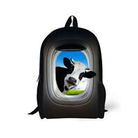 Animal Cow Bookbag Backpack Women Girls Boys School Bag Teen Rucksack Satchel