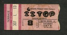 1983 Zz Top Grand Funk Tommy Tutone Rose Tattoo Baton Rough concert ticket stub