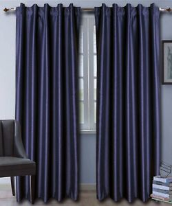 Dark Blue Faux Silk Dupioni Curtains with Lining, Select Top, Width & Length