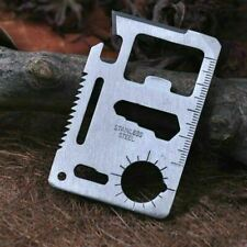 Stainless Steel Credit Card Tool  11 in 1 Multi Pocket Survival Camping Tools