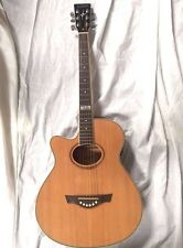 "TAGIMA 40"" Spruce Top Acoustic Guitar Natural Finish Preamp EQ Tuner LEFTY"