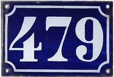 Old blue French house number 479 door gate plate plaque enamel metal sign c1900
