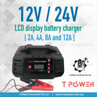 12V 24V 2A 4A 8A 12A Smart AGM GEL Lithium lifepo4 Battery Charger LCD display