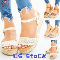 Fashion Women's Straw Sandals Woven Shoes Buckle Espadrilles Flats Platform US