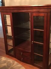 Dining room set - hutch, table, chairs.  Dark brown color, good condition.