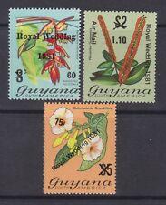 1981 Royal Wedding Charles & Diana MNH Stamp Set Guyana Overprint Airmail Values