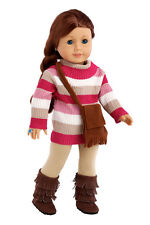 Fun Loving Girl - 18 inch Doll Clothes, Turtle Neck Sweater Leggings Purse Boots