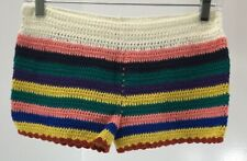 Love&Other Things Womens Crochet Away Striped Shorts Rainbow Size Small Nwt #