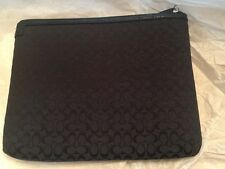 Coach Signature Gray Black Canvas turn lock iPad Tablet Padded Case Cover 10x8