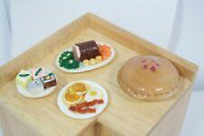 Dollhouse lot Miniature Kitchen Accessories Food pie egg cake roast porcelain