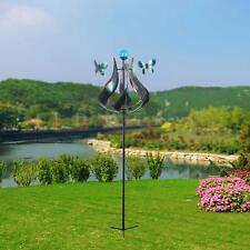 Solar Tulip Butterfly Windmill Garden Spinner Glass Lawn Garden Patio Yard Decor
