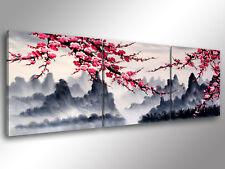 Quadro Moderno 3 pz. ORIENTAL FLOWERS cm 150x50 arredamento stampa su tela fiori