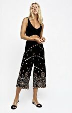NWT Free People black gold Embroidery Embellish Lace Wide Leg Crop Pant S