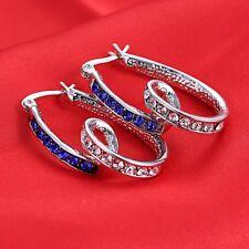 Fashion Women Lady Love Heart Crystal Rhinestone Ear Stud Hoop Dangle Earrings
