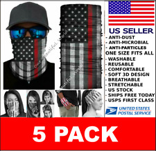 ✅5 Pack Neck Gaiter Tube Face Mask✅Us Flag Face Cover✅ Washable Reusable Us Stok