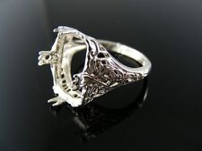 5505 RING SETTING STERLING SILVER, SIZE 6.25, 14X10 MM EMERALD