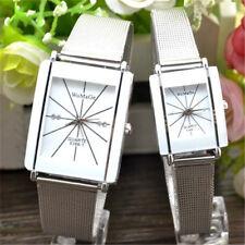 Fashion Luxury Lovers Women/men Stainless Steel Square Analog Quartz Wrist Watch
