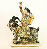 Fine Antique 1800s Meissen Porcelain Tailor Count Bruhl Riding Goat - J Kandler
