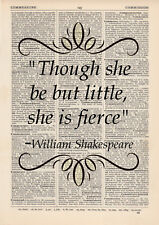 Though She Be but Little She Is Fierce Quote Dictionary Art Print Shakespeare