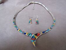 Navajo Multi-Stone Inlay & Sterling Necklace & Earrings by Rick Tolino JN00253