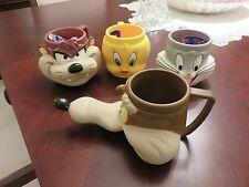 4 VTG 1992 Looney Toons Warner Bros 3D Mugs Tweety Wile E Coyote Taz Bugs Bunny