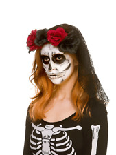 Day Of The Dead Veil Corpse Bride Roses Mexican Halloween Fancy Dress Accessory