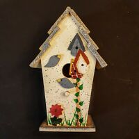 "Decorative Wood Bird House 8"" Shabby Country Farmhouse Home Decor"