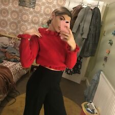 Red Off The Shoulder Scallop frilly Knitted Jumper