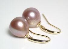 11x12mm AAA quality metallic pink freshwater pearl & 9ct gold earrings
